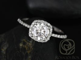 Rosados Box Barra 6mm 14kt White Gold Round F1- Moissanite and Diamonds Cushion Halo Engagement Ring