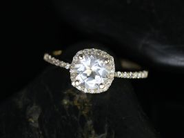 Rosados Box Barra 6mm 14kt Yellow Gold Round White Topaz and Diamonds Cushion Halo Engagement Ring