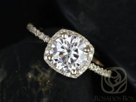 Rosados Box Barra 7mm 14kt Yellow Gold Round F1- Moissanite and Diamonds Cushion Halo Engagement Ring