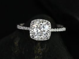 Rosados Box Randi 7mm 14kt White Gold Cushion Cut F1- Moissanite and Diamonds Halo Engagement Ring