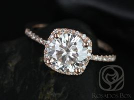 Rosados Box Barra 8mm 14k Rose Gold Round F1- Moissanite and Diamonds Cushion Halo Diamond Engagement Ring