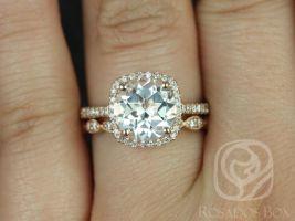 Rosados Box Barra 9mm & Christie 14kt Rose Gold Round White Topaz and Diamonds Cushion Halo Wedding Set