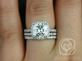 Rosados Box Randi 9mm & Petite Bubbles 14kt White Gold Cushion F1- Moissanite and Diamonds Halo TRIO Wedding Set
