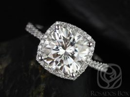 Rosados Box Randi 9mm 14kt White Gold Cushion F1- Moissanite and Diamond Cushion Halo Engagement Ring