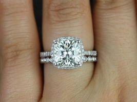 Rosados Box Randi 10mm & Petite Bubbles 14kt White Gold Cushion F1- Moissanite and Diamonds Halo Wedding Set