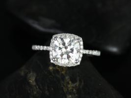 Rosados Box Randi 7.5mm White Gold Cushion F1- Moissanite and Diamond Halo Engagement Ring
