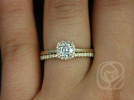 Rosados Box Bella 5mm 14k Yellow Gold & Romani Round F1- Moissanite and Diamonds Halo Wedding Set
