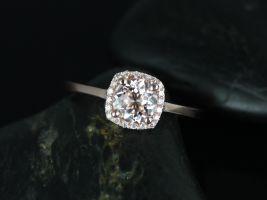 Rosados Box Bella 6mm 14kt Rose Gold Round Morganite and Diamond Cushion Halo Engagement Ring
