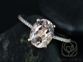 Rosados Box Blake 10x8mm 14kt Rose Gold Oval Morganite and Diamonds Cathedral Engagement Ring