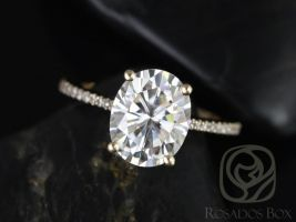 Rosados Box Blake 10x8mm 14kt Yellow Gold Oval F1- Moissanite and Diamonds Cathedral Engagement Ring