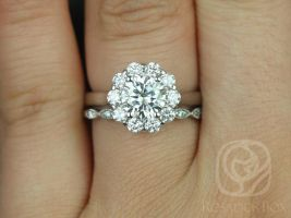 Rosados Box Blossom 6.5mm & Ultra Petite Leah 14kt White Gold Round F1- Moissanite and Diamonds Flower Halo Wedding Set