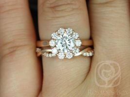 Rosados Box Blossom 6.5mm & Dusty 14kt Rose Gold Round F1- Moissanite and Diamonds Halo Wedding Set