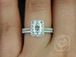 Rosados Box Brianna 8x6mm White Gold Radiant F1- Moissanite and Diamonds Halo Wedding Set