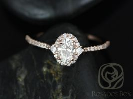 Rosados Box Bridgette 6x4mm 14kt Rose Gold Oval F1- Moissanite and Diamonds Halo Engagement Ring