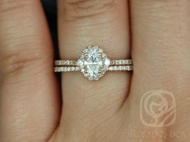Rosados Box Bridgette 6x4mm 14kt Rose Gold Oval F1- Moissanite and Diamonds Halo Wedding Set