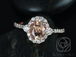 Rosados Box Bridgette 8x6mm 14kt Rose Gold Oval Oregon Sunstone and Diamonds Halo Engagement Ring