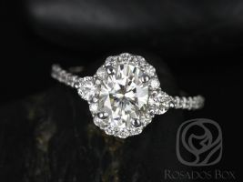 Rosados Box Bridgette 8x6mm 14kt White Gold Oval F1- Moissanite and Diamonds Halo Engagement Ring