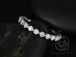 Rosados Box Medio Naomi / Medio Bubble & Breathe 14kt White Gold Diamonds ALMOST Eternity Band
