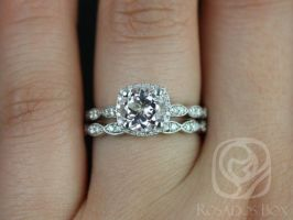 Rosados Box Christie 7mm 14kt White Gold Morganite and Diamonds Cushion Halo WITH Milgrain Wedding Set