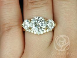 Rosados Box Carla 9&6mm 14kt Yellow Gold Round F1- Moissanite and Diamond 3 Stone Wedding Set
