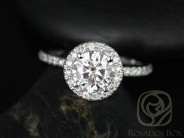 Rosados Box Callie 6.5mm 14kt White Gold Round F1- Moissanite and Diamonds Halo Engagement Ring