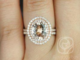 Rosados Box Cara 10x8mm 14kt Rose Gold Oval Morganite and Diamonds Double Halo Wedding Set