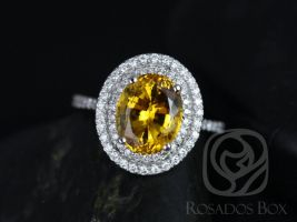 Rosados Box Cara 10x8mm 14kt White Gold Oval Yellow Sapphire and Diamonds Double Halo Engagement Ring