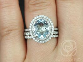 Rosados Box Cara 10x8mm & Christie 14kt White Gold Oval Aquamarine and Diamonds Double Halo TRIO Wedding Set