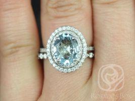 Rosados Box Cara 10x8mm & Naomi 14kt White Gold Oval Aquamarine and Diamonds Double Halo Wedding Set