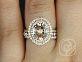 Rosados Box Cara 10x8mm & Petite Naomi 14kt Oval Morganite and Diamonds Double Halo TRIO Wedding Set