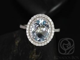 Rosados Box Cara 10x8mm 14kt White Gold Oval Aquamarine and Diamonds Double Halo Engagement Ring