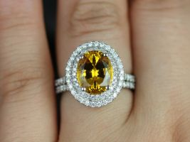 Rosados Box Cara 10x8mm 14kt White Gold Oval Yellow Sapphire and Diamonds Double Halo Wedding Set