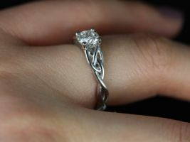 Rosados Box Cassidy 3/4ct 14kt White Gold Round Diamond Celtic Knot Engagement Ring