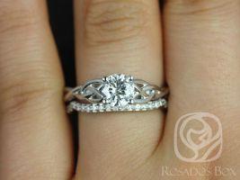 Rosados Box Cassidy 3/4ct White Gold Round Diamond Celtic Knot Wedding Set