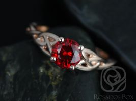 Rosados Box Cassidy 6mm Rose Gold Round Ruby Celtic Knot Engagement Ring