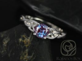 Rosados Box Cassidy 6mm 14kt White Gold Round Alexandrite Celtic Knot Engagement Ring