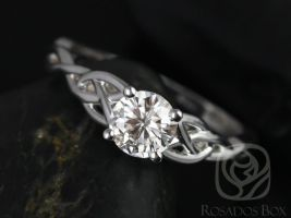 Rosados Box Cassidy 6mm White Gold Round F1- Moissanite Celtic Knot Engagement Ring