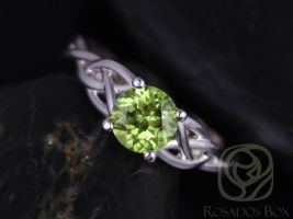 Rosados Box Cassidy 6mm White Gold Round Peridot Celtic Knot Engagement Ring