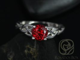 Rosados Box Cassidy 6mm 14kt White Gold Round Ruby Celtic Knot Engagement Ring