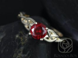 Rosados Box Cassidy 6mm Yellow Gold Round Ruby Celtic Knot Engagement Ring