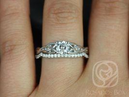 Rosados Box Cassidy 1/2ct 14kt White Gold Round Diamond Celtic Knot Wedding Set