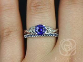 Rosados Box Cassidy 6mm & Kierra 14kt White Gold Round Blue Sapphire Celtic Knot Wedding Set