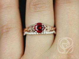 Rosados Box Cassidy 6mm 14kt Rose Gold Round Ruby and Diamonds Celtic Knot Wedding Set
