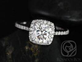 Rosados Box Catalina 6.5mm 14kt White Gold Cushion F1- Moissanite and Diamond Halo Engagement Ring