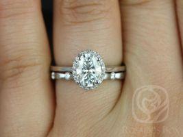 Rosados Box Celeste 8x6mm & Juno 14kt White Gold Oval F1- Moissanite and Diamonds Pave Halo Wedding Set