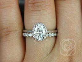 Rosados Box Celeste 8x6mm & Petite Bubbles 14kt White Gold Oval F1- Moissanite and Diamonds Pave Halo Wedding Set
