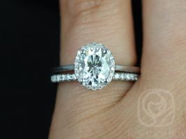 Rosados Box Celeste 8x6mm & Sweetheart Barra Band 14kt White Gold Oval F1- Moissanite and Diamonds Pave Halo Wedding Set