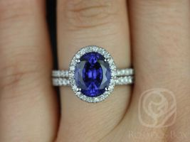 Rosados Box Chantelle 10x8mm 14kt White Gold Oval Blue Sapphire and Diamond Halo Wedding Set