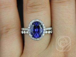 Rosados Box Chantelle 10x8mm & Petite Naomi 14kt White Gold Oval Blue Sapphire and Diamond Halo Wedding Set