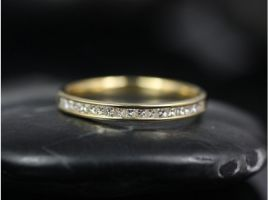 Rosados Box Ready to Ship Charlene 14kt Yellow Gold Channel Set Princess Diamond HALFWAY Eternity Band